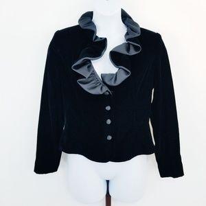 VTG Oleg Cassini Black Tie Velvet Ruffle Jacket